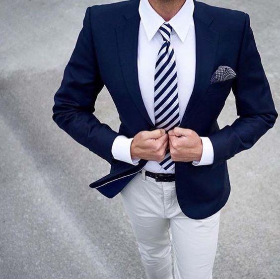 Compre Blazer Azul Marino Traje De Los Hombres Para La Boda Novio Formal  Formal De Negocios Traje De 2 Piezas Con Pantalones Slim Fit Tuxedo Mariage  ... f17d3b33b3a6