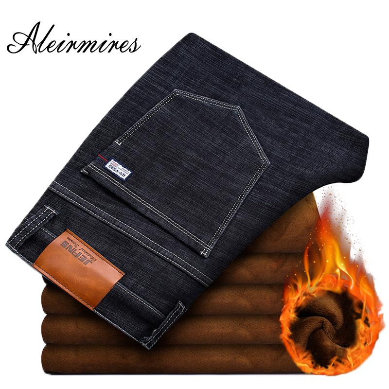 719c759ad3 2019 Aleirmires Men Plus Size Warm Fleece Winter Jeans 2018 Business Casual  Straigth Slim Elastic Thick Mens Stretch Denim Pants From Braces