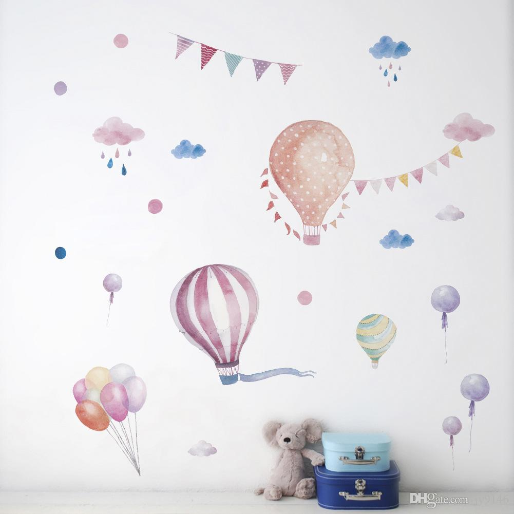 DIY Hot air Balloons Clouds Flags Wall Decals PVC Removable Watercolor Decorative Stickers for Babys Room Girls Room and Nursery Decoration