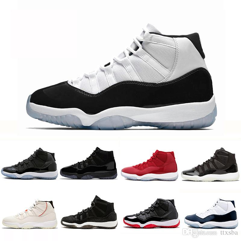 outlet store b47d4 814ee Acheter 11s Basketball Shoes Concord 45 XI Black Chaussures De Basket Ball  De Nuit De Bal 11 Gym Red Concord Midnight Navy Chaussures Espace Jam PRM  Heiress ...