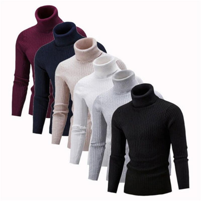 Men Winter Knitted High Roll Turtle Neck Pullover Sweater Jumper Solid Tops Knitwear