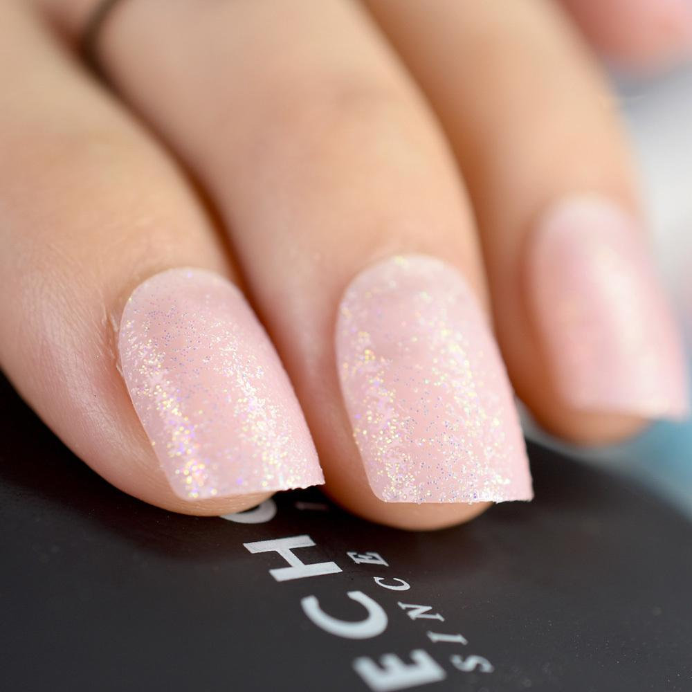 Light Pink Glitter False Nails Short Square Decoration Full Wap Ladies  Daily Wear Plastic Tips 2019