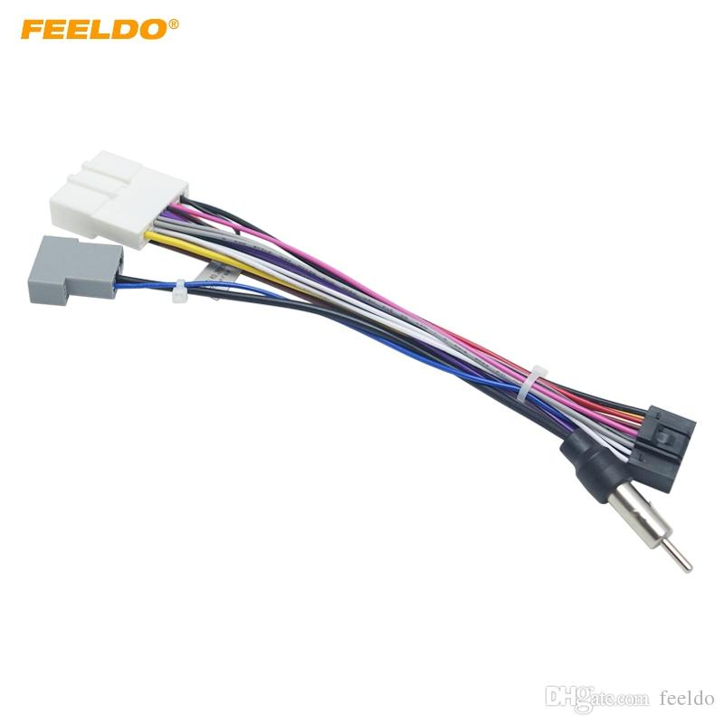 FEELDO 16P Car Head Unit Wire Harness Adapter For Nissan OEM Car Radio on