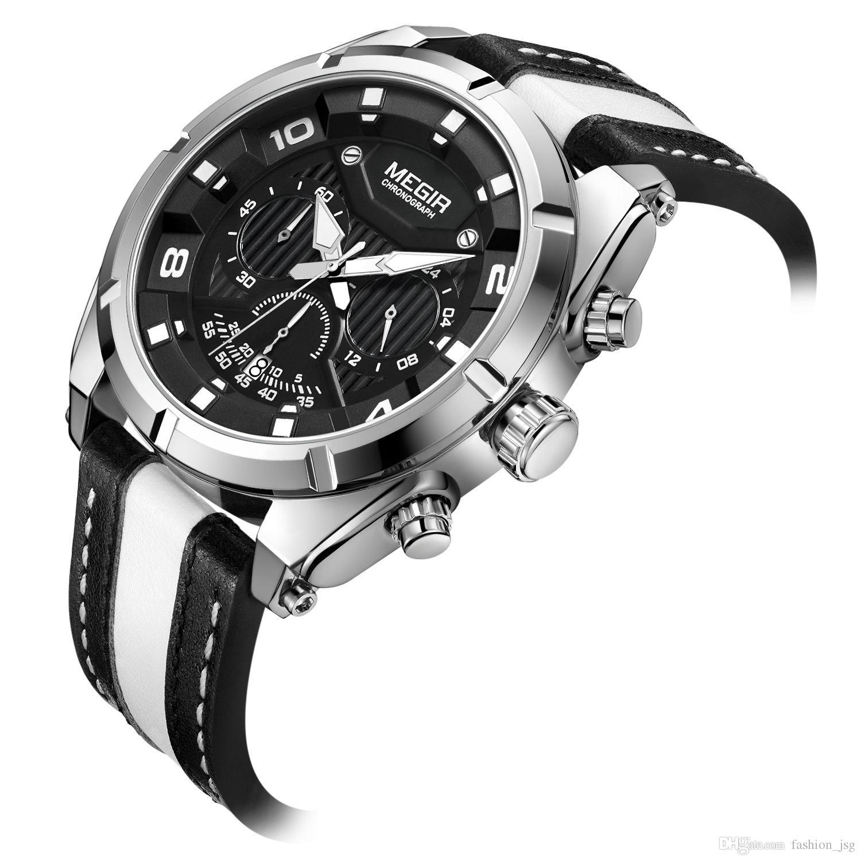 55270e85fe79 Compre BRW Men ss Sports Cuarzo Relojes Moda Correa De Cuero Cronógrafo  Reloj Analógico Para Hombre Indicador De 24 Horas ML2076 A  50.65 Del  Fashion jsg ...