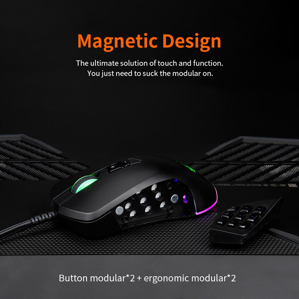 Ajazz 5000DPI USB Wired RGB Backlit Gaming Mouse With Replaceable Side Buttons and Module RGB Streamer effect Mouse Gamer