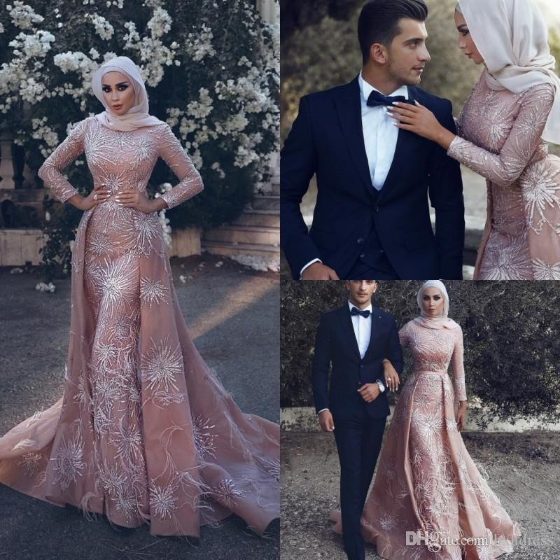 New Muslim Elegant Dresses Evening Wear Long Luxury Mermaid Evening Gowns With Train Sweep Train Sash Lace Applique Beads Prom Dress Party 4