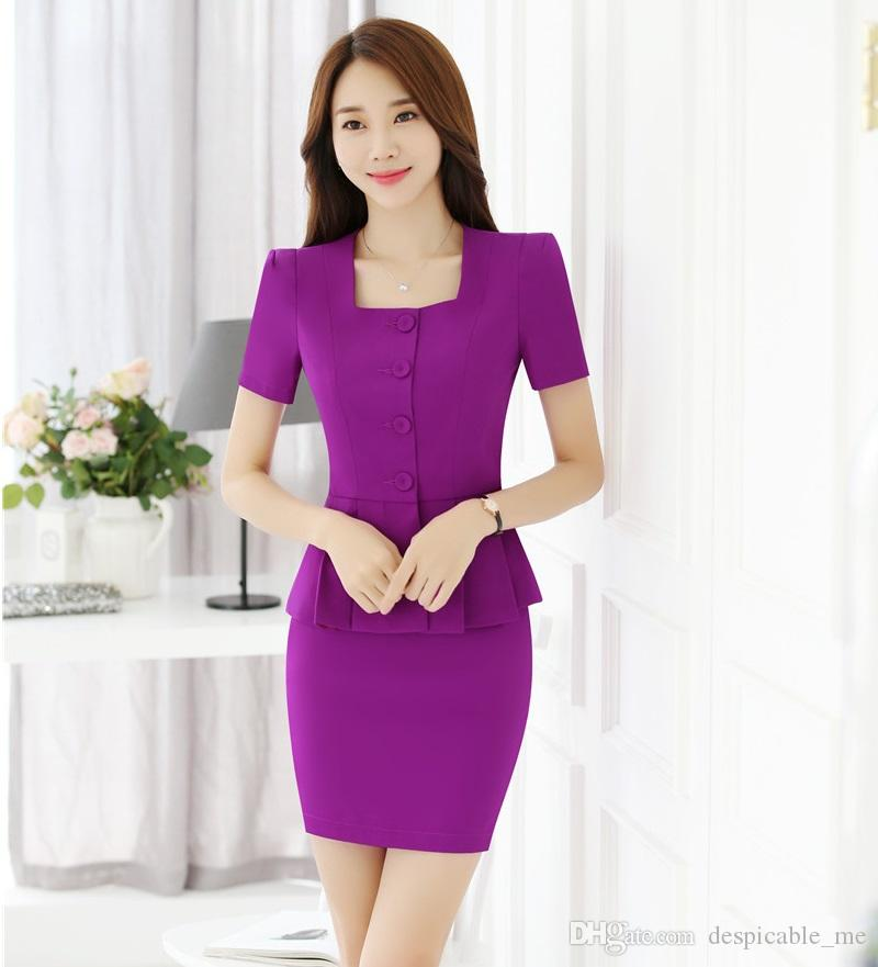 20e660036b6ce 2019 Women Business Suits Skirt And Top Sets Purple Jacket Short Sleeve  Office Ladies Work Wear Uniforms Style From Despicable me