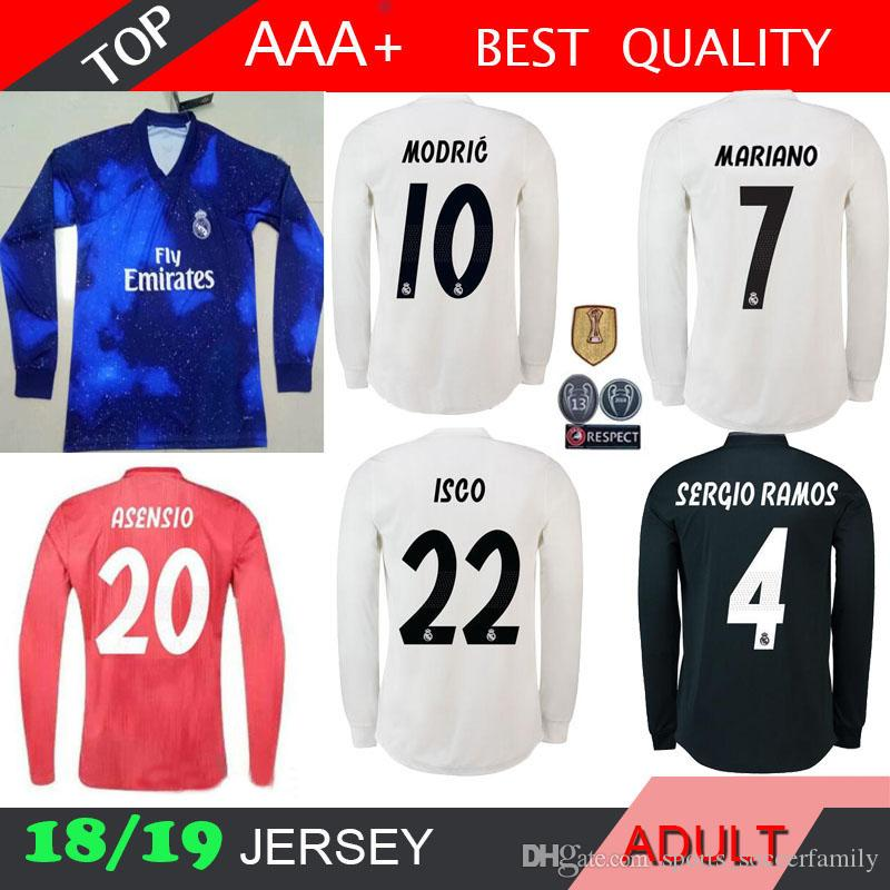 2480ad20f 2019 Real Madrid Long Sleeve X EA Sports Modric Soccer Jersey Benzema 18 19  ISCO Madrid Kroos Sergio Ramos Bale Marcelo 2018 2019 ASENSIO From ...