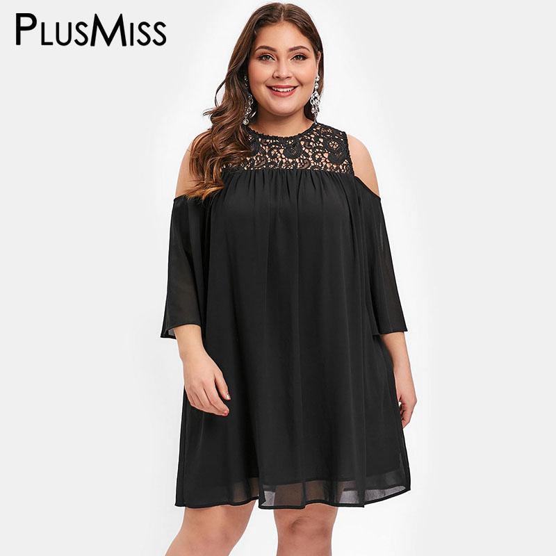 113aaff03b1 PlusMiss Plus Size 5XL Lace Crochet Cold Shoulder Chiffon Mini Dresses  Women Summer Vintage Loose Sundress Big Size XXXXL XXXL Club Dresses  Occasion Dresses ...