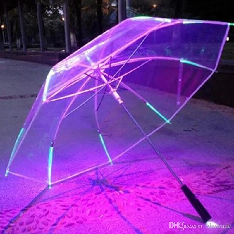 7 Colors Changing Color LED Luminous Transparent Umbrella Rain Kids Women with Flashlight For Friends Best Gift