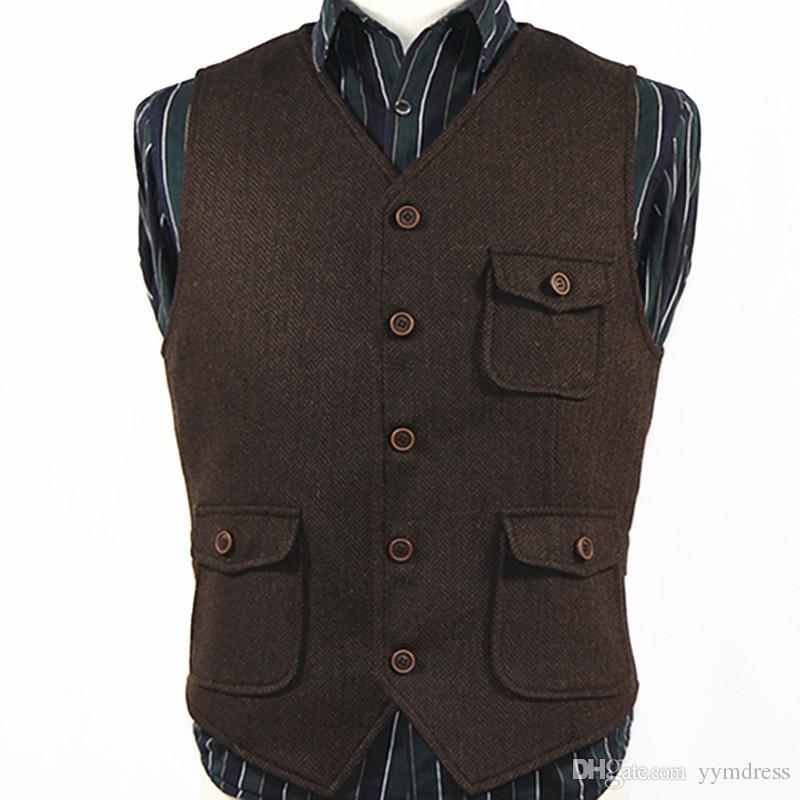 e7134ceed Dark Brown Groom Vest Wedding Wool Herringbone Tweed Vests Custom Made Mens  Suit Five Button Vest Prom Wedding Waistcoat