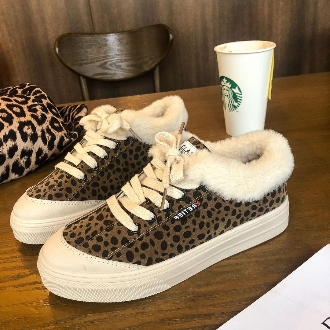 c03a0d9a5 Compre Mulheres Calçado Altura Aumento Correndo Slipony Menina Feminino  Leopardo Retro Conforto Dourado Branco Sapatos Rasos Sapato Quente De  Inverno 4440 ...