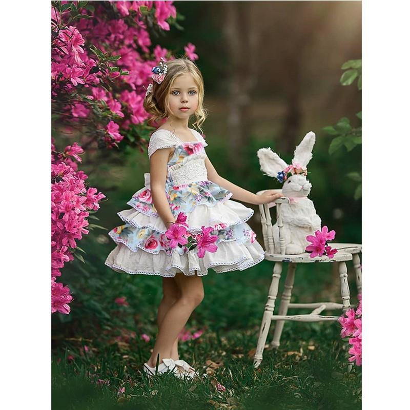 2019 quality Baby girls Vintage Flora Toddler Kids Girl Ruffle Lace Dress  Sleevelss Party dress Pageant Dress for Infant baby f