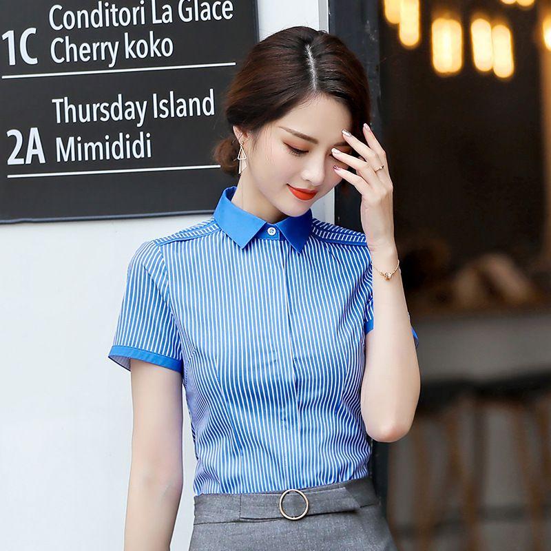 cc6b2208eef1 Nuevo estilo de blusas de rayas mujer de moda 2019 tops y blusas para mujer  elegante oficina damas camisas mujer ropa de trabajo usar