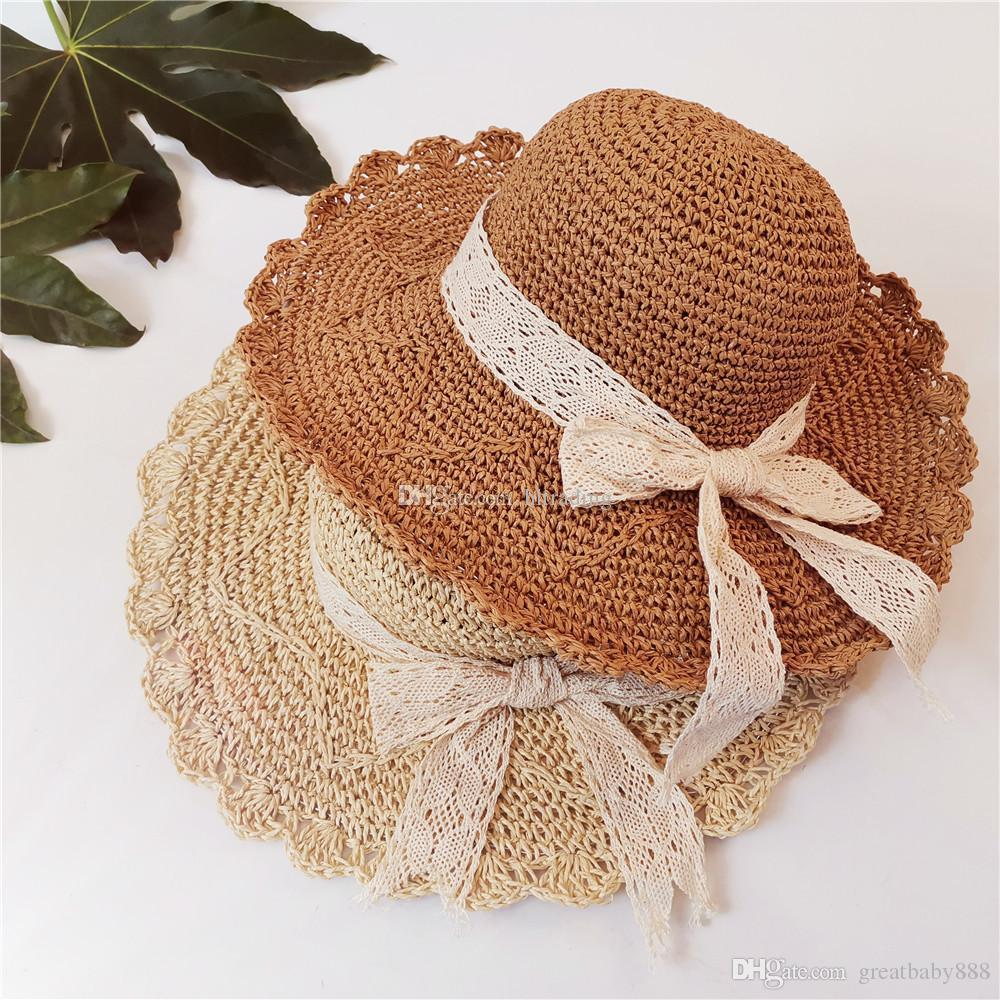 73a3560e0f7b1 2019 2019 Summer Women Beach Hat Girls Foldable Straw Hat Lace Bow Sun Hats  Outdoor Travel Caps C6121 From Greatbaby888, $7.07 | DHgate.Com