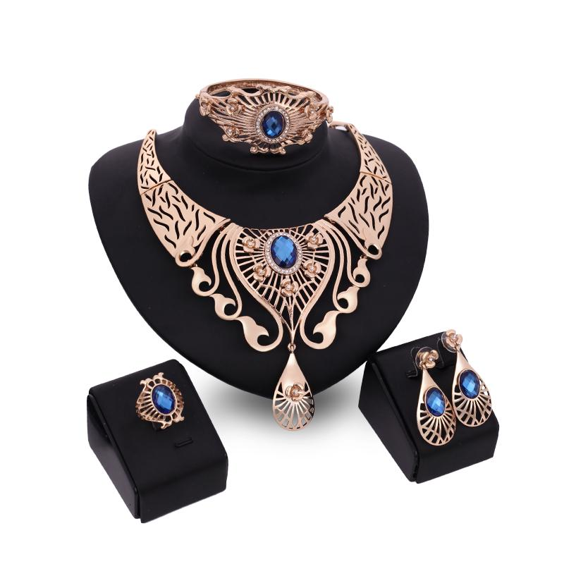 Bangles Necklaces Rings Earrings Jewelry Sets Luxury Women Royal Rhinestone 18K Gold Plated Water Drop Alloy Party Jewelry 4-piece Set JS038