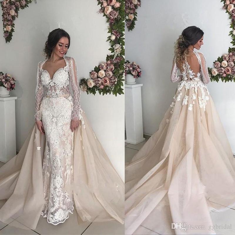 Champagne Long Sleeves Lace Wedding Dresses 2019 Mermaid