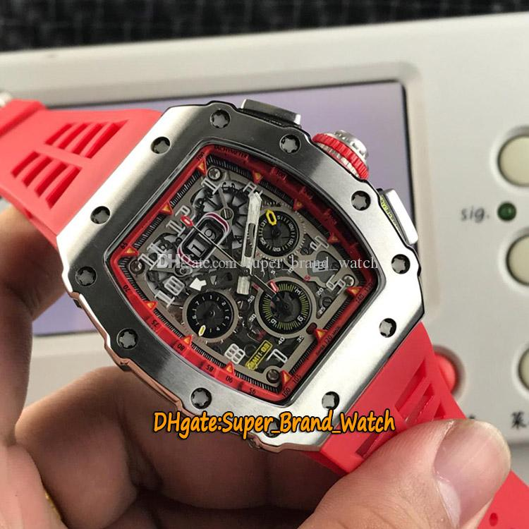 High Quality RM 11-03RG Big Date Flyback Chrono Skeleton Dial Miyota Automatic 11-03 Mens Watch Silvery Case Red Rubber Strap Sport Watches