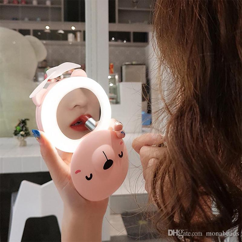 Cosmetic Mirrors Cartoon Pig LED Light Makeup Mirror Adjustable Folding USB Charging Portable Handheld Mini Fan