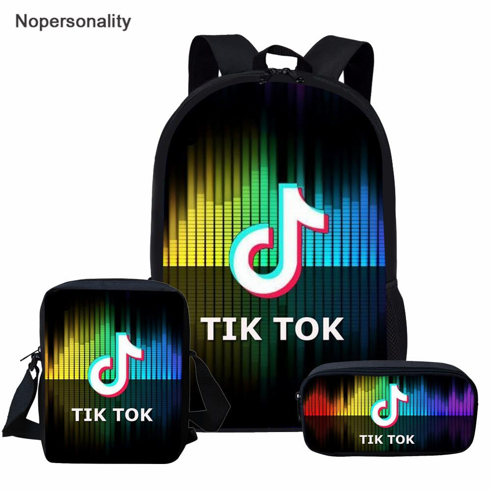 Nopersonality School Bag Music Note TIK TOK Prints 3Pcs Portfolio Book Bags  Teenager Boys Girls Backpack 16 inch Kids Satchel