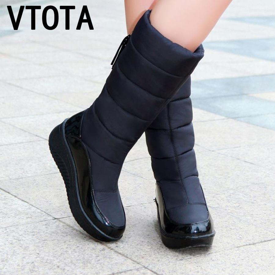 957a4737 Compre VTOTA Botas De Nieve De Mujer De Invierno Cálido Plataforma Zapatos  De Franja De Piel Cuñas Tacones Hasta La Rodilla Botas De Mujer Zapatos De  Bota ...