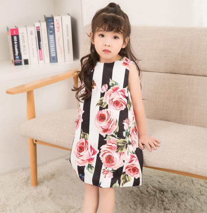 2ebd741b3 2019 Kids Clothes Baby Girls Rose Flower Printed Dress New 2018 Kids Girl  Striped Summer Dresses Kids Sleeveless Princess Pageant Dress For Girls  From ...