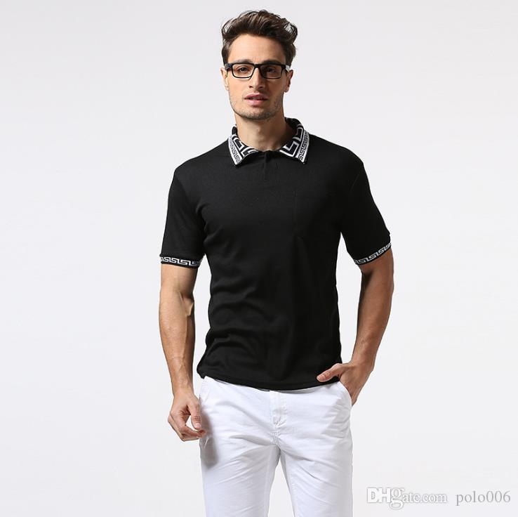 Men's Solid Color Simple POLO Shirt Classic Black And White T-Shirt Lattice Lapel Stripes Cuffs Fashion Simple Business Casual