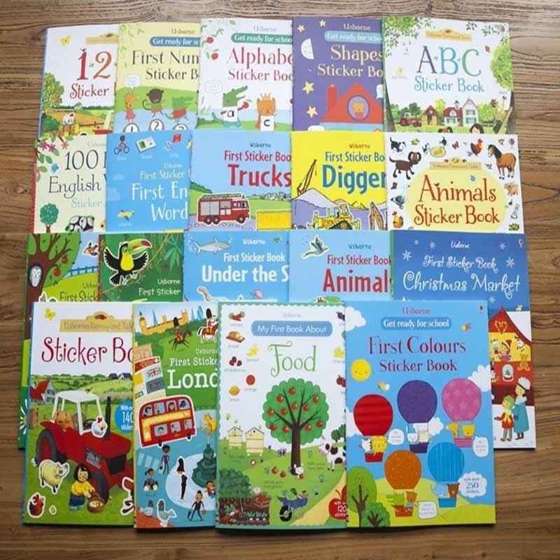 A4 size children cartoon sticker books/big size reusable stickers of Jungle animal/princess/market English learning educationalMX190917