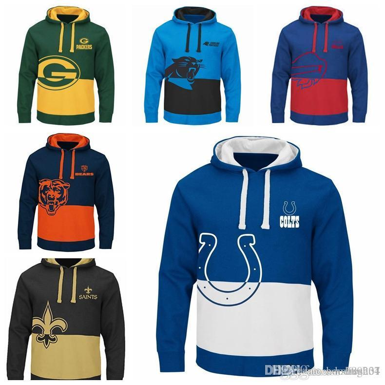 detailed look 9a973 48365 Indianapolis Colts Green Bay Packers Carolina Panthers Buffalo Bills  Chicago Bears New Orleans Saints Men s Two Colors Splice Hoodies