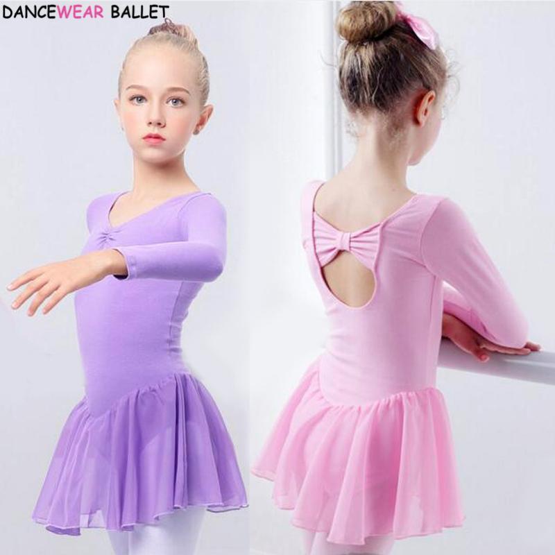c1ffb405fa Compre Meninas Ballet Dress Ginástica Collant De Manga Comprida Crianças  Criança Rosa Ballet Clothing Dance Wear Com Saias De Chiffon Para Meninas De  ...