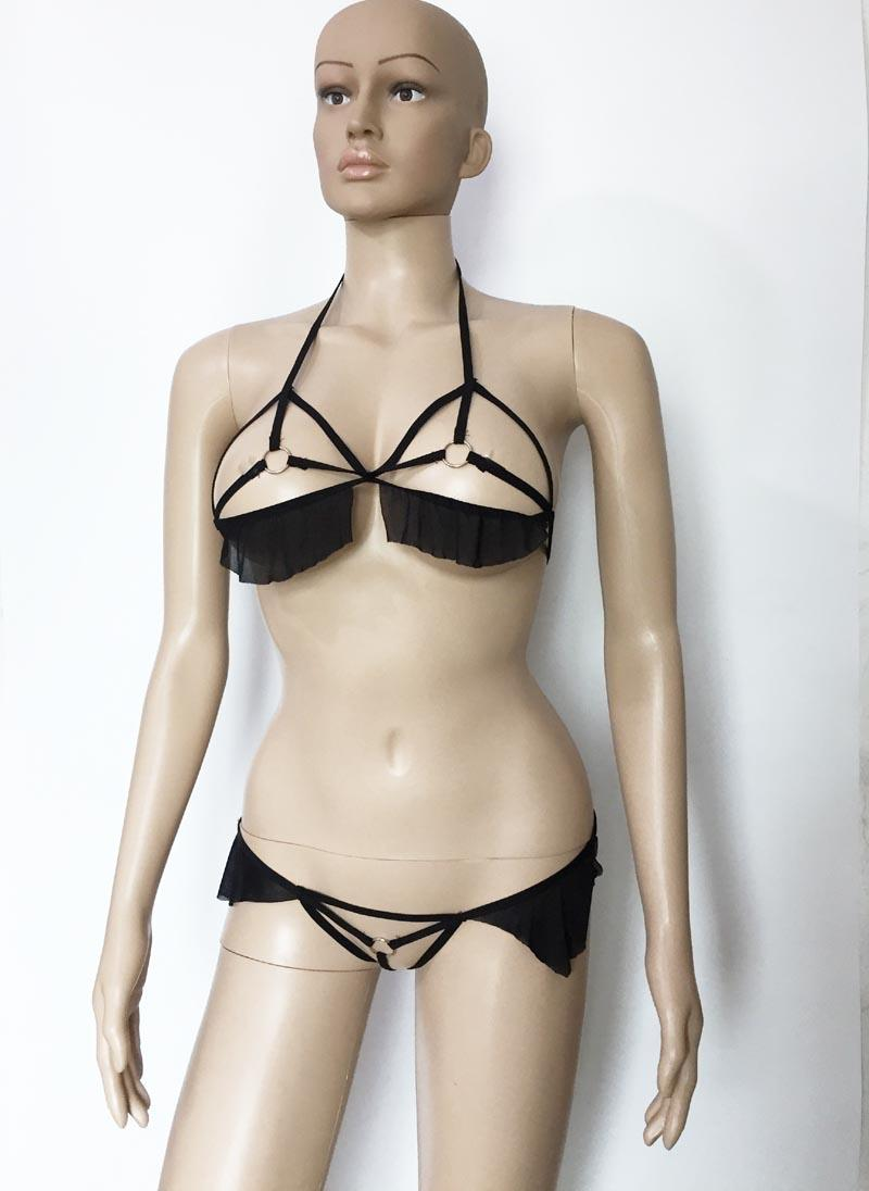 Sexy Strappy Bra Top and Thong with Metal Rings and Lace Trim Open Breast Crotchless Lingerie Set Fantasy Bikini Underwear Hot