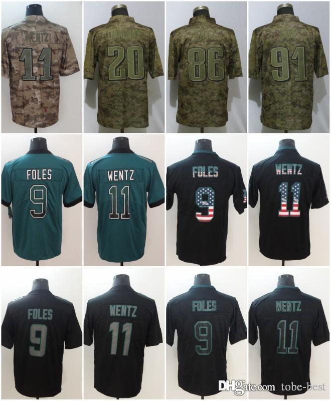 5a2ce76c6ce 2019 Philadelphia 9 Nick Foles Jerseys 20Brian Dawkins 11 Carson Wentz  Eagles 2018 Salute To Service USA Flag Lights Out Black Rush Drift Limited  From Tobe ...