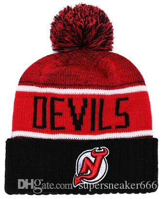 NEW JERSEY DeVILS hat Ice Hockey Knit Beanies Embroidery Adjustable Hat Embroidered Snapback Caps Sport Knit hat 06