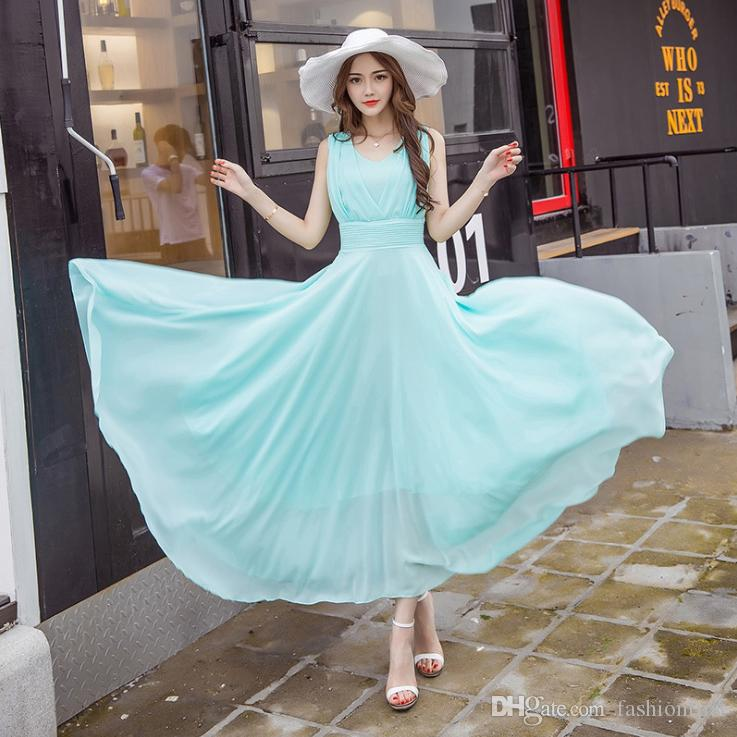 1fb1e323246 Summer Sleeveless Fairy Chiffon Dress Female Beach Fairy Women Long Dress  Flowy Dressses Evening Party Plus Size Dress Shop For Womens Dresses Lace  Sun ...