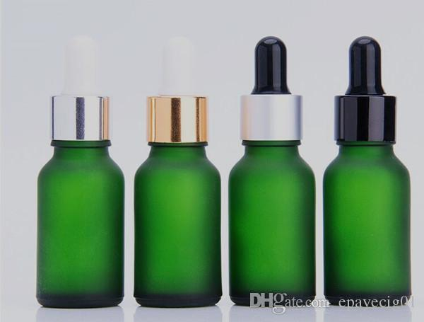 15ml glass dropper bottle frosted green essential oil bottle glass green matte with silver gold white cap custom packaging box