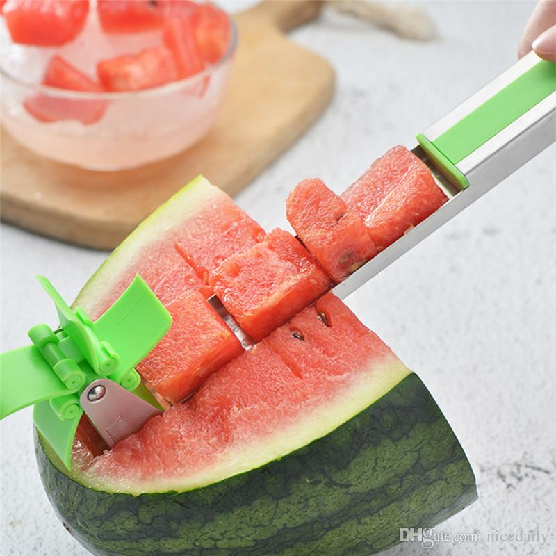 Watermelon Cutter Stainless Steel Knife Corer Tongs Windmill Shape Plastic Slicer for Cutting Power Save Cutter Fruit Slicer Vegetable Tools