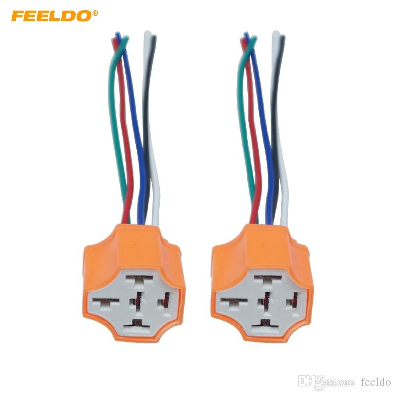 Fabulous 2019 Feeldo Car 5Pin Headlight Ceramic Socket Extension Plug Led Hid Wiring Cloud Hisonuggs Outletorg