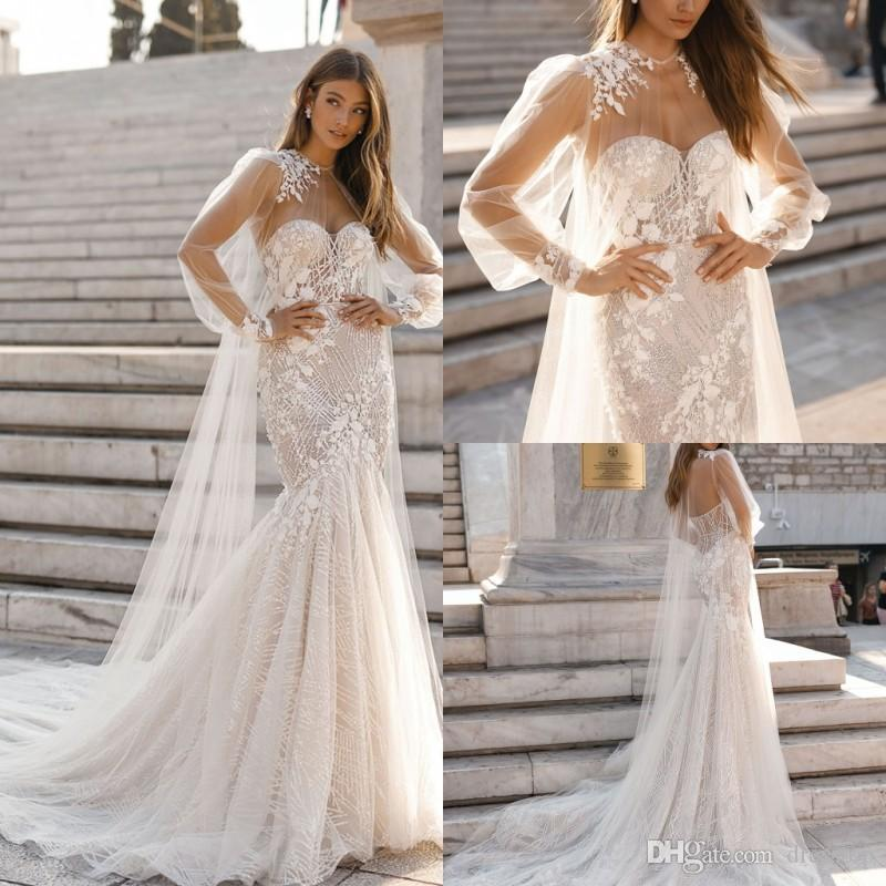 2019 Berta Mermaid Wedding Dresses With Cape Sweetheart Neck Lace