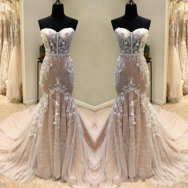 Boho Blush Pink Wedding Dresses 2017 Pretty 3d Flower Lace: Glamorous 3D Floral Lace Mermaid Pink Wedding Dresses