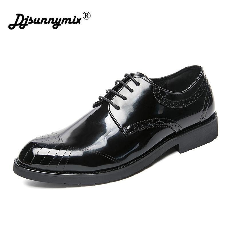 cff9c28f5f Compre DJSUNNYMIX Marcas Zapatos Para Hombre Con Cordones Fiesta De Trabajo  Formal Negocio Vestido De Novia Casual Cómodo Zapatos De Cuero Brillante A  ...