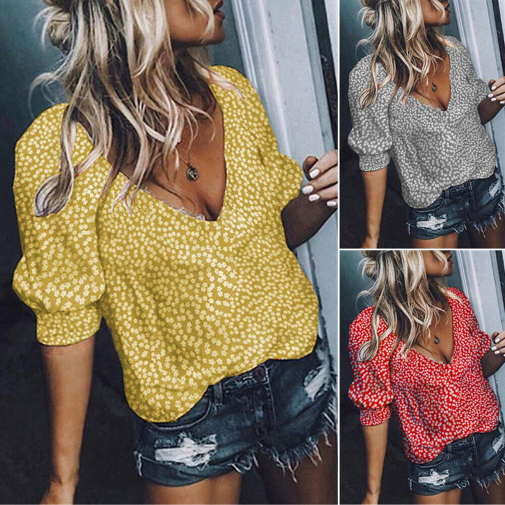 Hirigin 2019 New Style Sexy Womens V Neck Half Sleeve Floral Loose Tops Casual Plain Tee Shirt Blouse Female Clothing