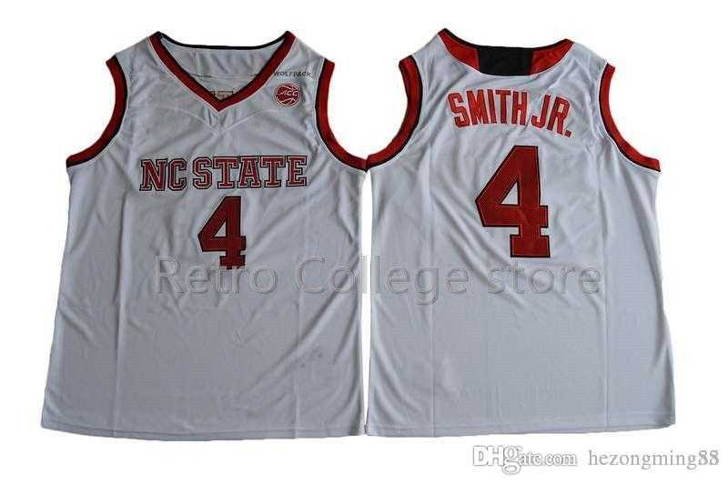 4 Dennis Smith JR  NC State Wolfpack College Vintage Basketball Jerseys Men  Embroidery