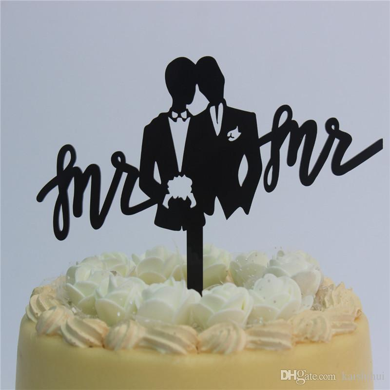 5d5905b98f18cd 2019 Wedding Cake Topper Gay Mr And Mr Silhouette Cake Decoration For Gay  Wedding From Kaishihui, $16.11 | DHgate.Com