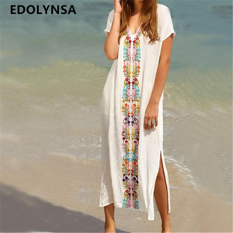 63caf2e805d90 2019 New Arrivals Beach Cover Up Rayon Embroidery Swimwear Ladies Vintage  Pareo Kaftan Beach Swimsuit Robe De Plage Beachwear #Q18 From Winwin2013,  ...