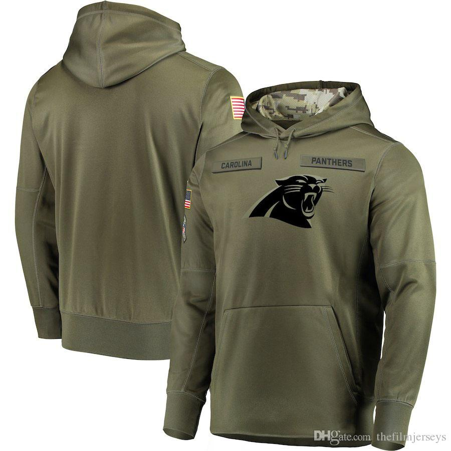 quality design 9467c 2e093 2018 men Carolina Sweatshirt Panthers Salute to Service Sideline Therma  Performance Pullover Hoodie Olive