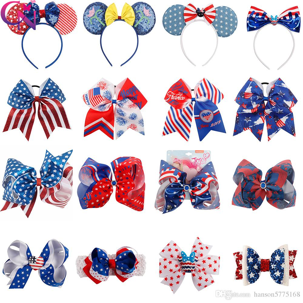 JOJO Bows American Flag Hair Bows 4th of July Wholesale Hair Clips For Girls Fashion Baby Headband Sequin Hairbands Headwear