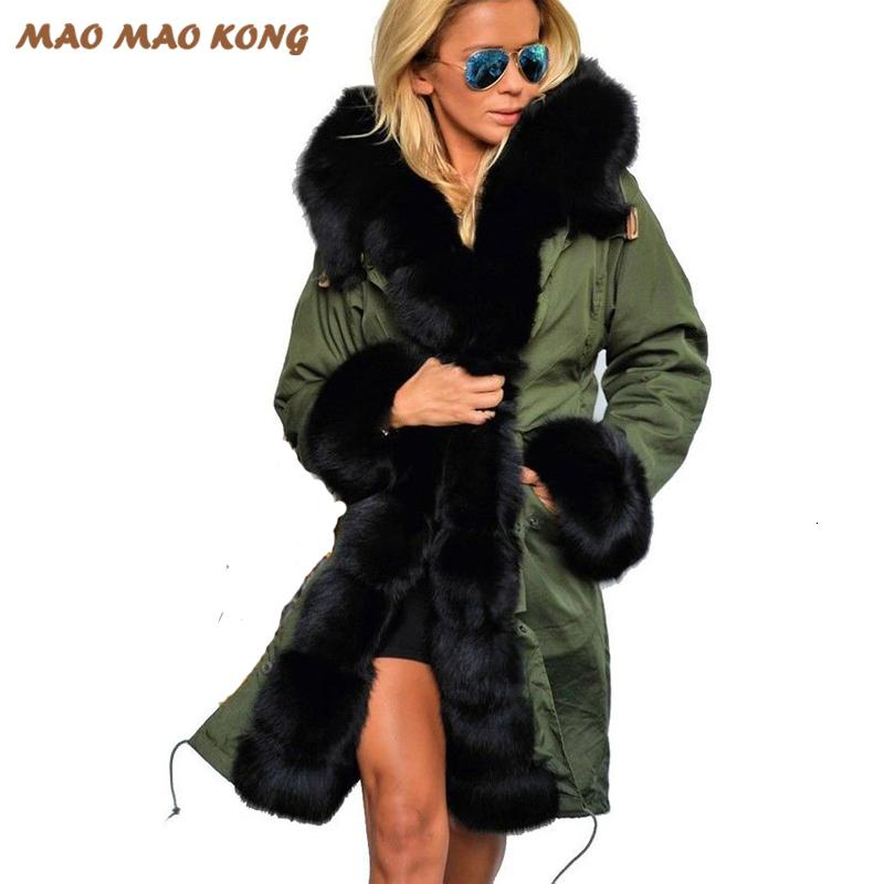 2019 New Fashion women Large fox fur hooded coat parkas outwear long detachable fur lining winter jacket brand style hot hot hot T191028