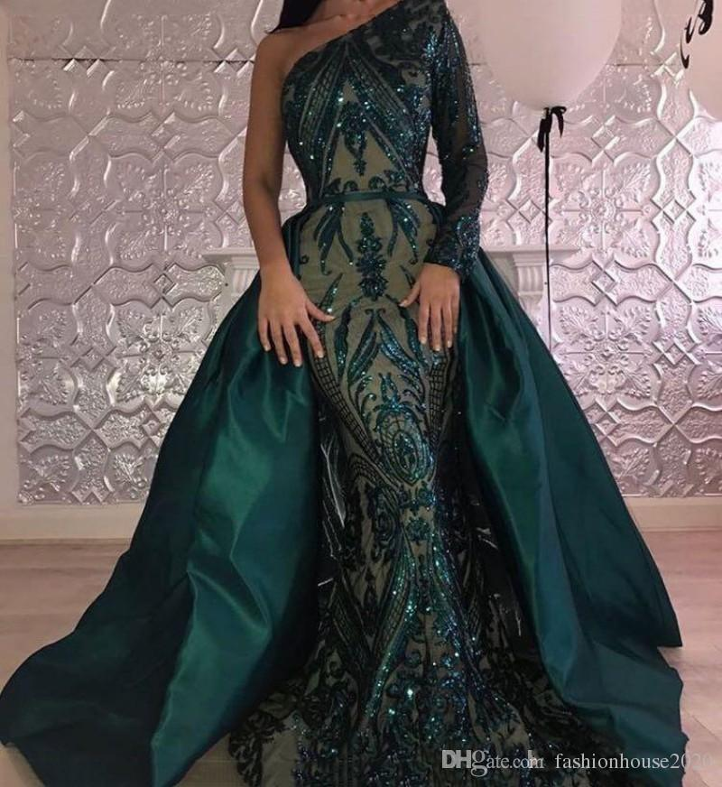 2019 New Sexy Emerald Green Evening Dresses Wear One Shoulder Appliques Long Sleeves Sequins Mermaid Overskirts Formal Pageant Prom Gowns