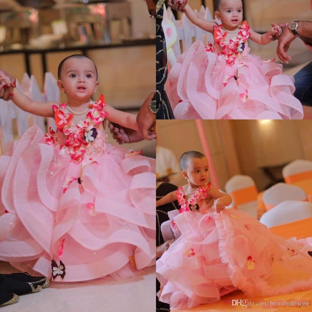 7754acbfccd3e Pink Tulle A Line Flower Girl Dress Birthday Wear 2019 Butter Fly 3D Floral  Applique Layered Ruffles Girls Pageant Dresses Party Dress