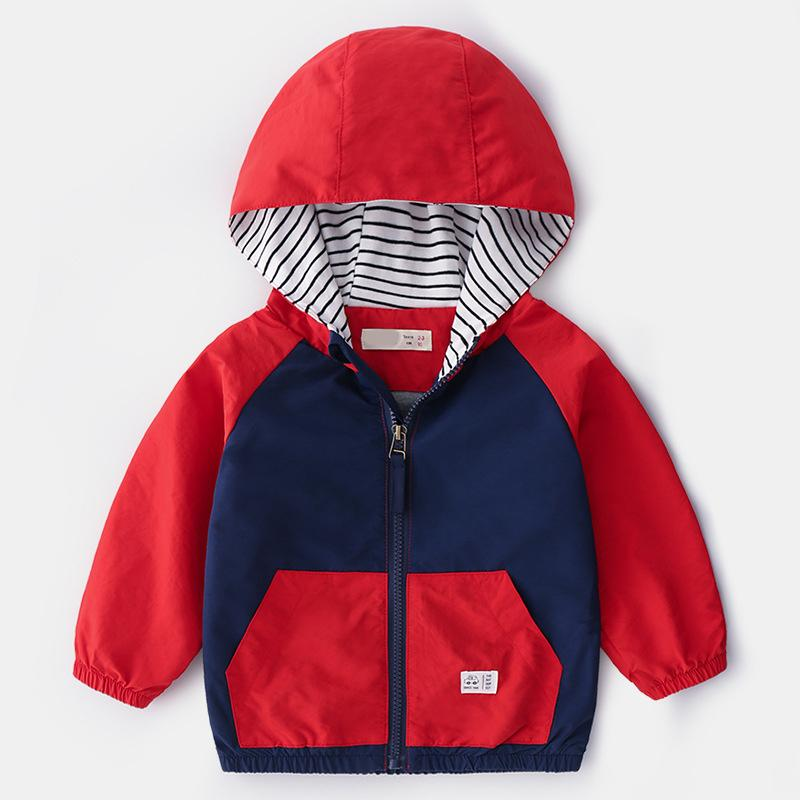 bc6ea2baf 2019 Spring Autumn Boys Splice Hoodie Jacket Zipper Baby Hooded Coat ...